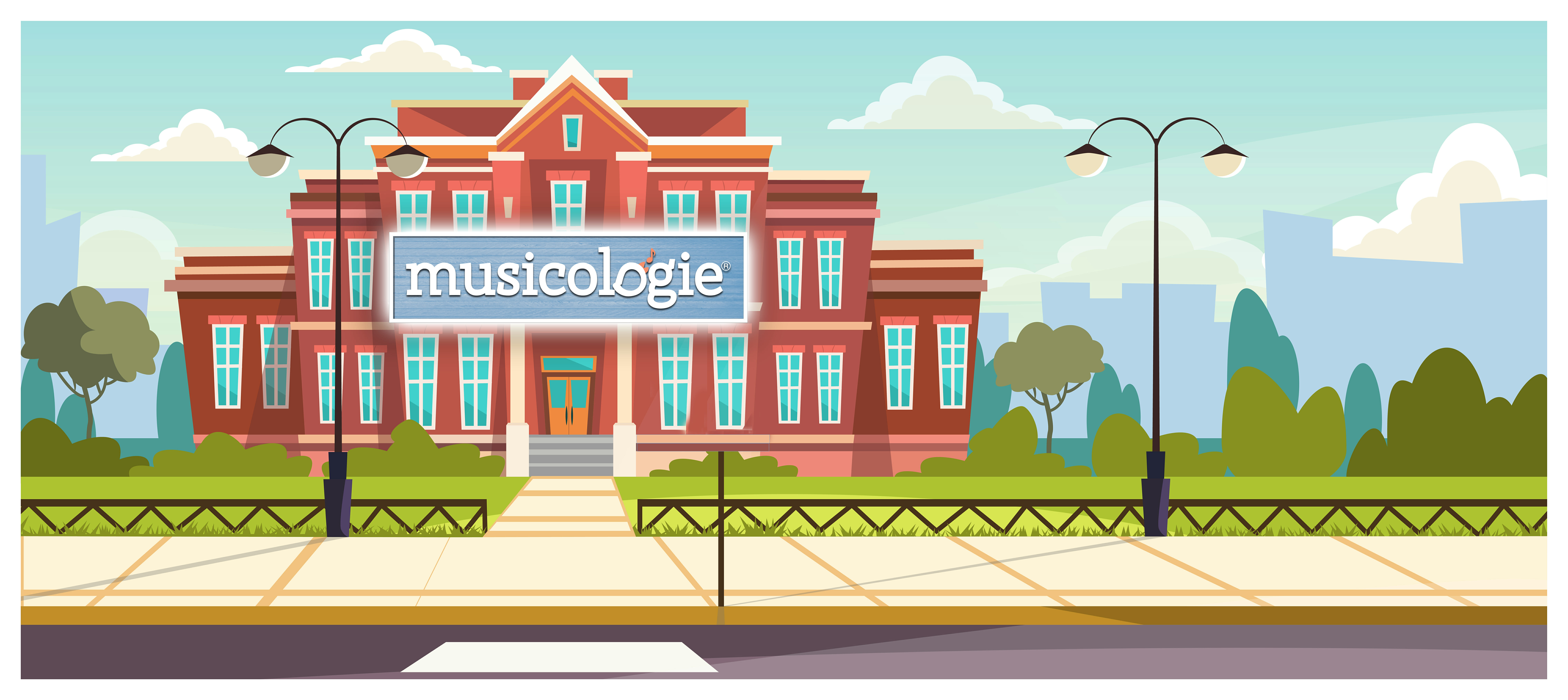 Musicologie Sign on School Building